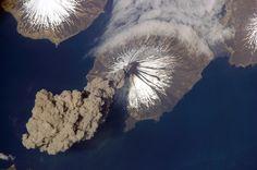 Alaska's Aleutian Cleveland volcano erupting.