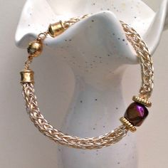 silver and gold viking knit ladies bracelet with by DonnaDStore