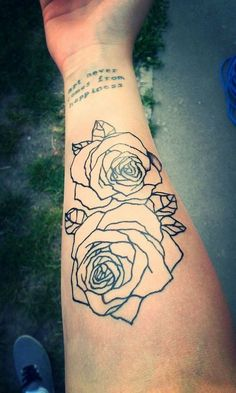 Black Outline Two Rose Tattoo On Right Forearm: