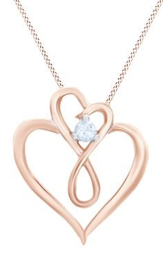 Aquamarine Double Heart Infinity Loop Pendant in 14K Rose Gold Over Sterling Silver. Infinity Loop Pendant 14k Rose Gold Over Sterling Silver. Aquamarine is a Birthstone of March. It is a symbol of good health, happiness, everlasting youth and hope. Wearing this gem may reawaken married love, build your courage and increase your happiness. Find a special gift for a loved one or a beautiful piece that complements your personal style with jewelry from the Jewel Zone US Collection…