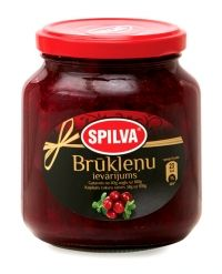 "Red Bilberry Jam.  Aromatic jam prepared from selected and carefully preserved whole red bilberries. Jam is great with meat and potato pancakes. Suitable with usual deserts: ice- cream, thin pancakes, cottage cheese, fresh white bred and toasts. Latvia. Company ""SPILVA""."