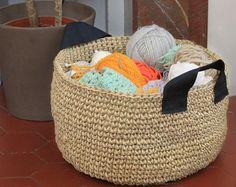 Panier en corde de lin Panier en crochet par CapsuleFactory