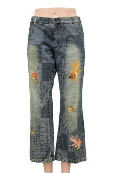 Custo Barcelona Goldfish Embroidered Capri Jeans Size 6