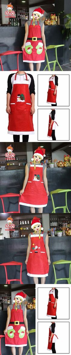 Women Solid Cooking Apron Festive Restaurant Bib Santa Clause Kitchen Apron