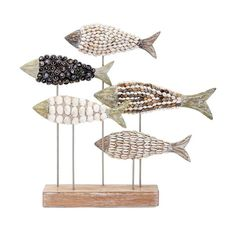 Tilden Mosaic Shell Fish Statuary Sculpture by Wayfair Coastal Bedding, Coastal Bedrooms, Coastal Curtains, Seaside Decor, Coastal Decor, Coastal Lighting, Coastal Chandelier, Coastal Rugs, Coastal Cottage