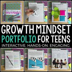Growth Mindset Portfolio for Teens: Interactive Notebook & Informative Guide This interactive portfolio for middle and high school students is filled with a variety of different lessons to inform and encourage students to understand the importance of grow Interactive Activities, Brain Activities, Interactive Notebooks, Health Activities, High School Classroom, High School Students, English Classroom, What Is Mindset, Leadership Assessment