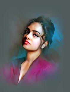 #nithyamenen #actrerss #bollywood #photoshoppainting Digital Paintings, Digital Art, Nithya Menen, Woman Painting, Ariel, Bollywood, Halloween Face Makeup, Sketch, Portraits