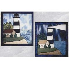 LIGHTHOUSE STAINED GLASS PATTERN  - This stained glass wallhanging quilt pattern…
