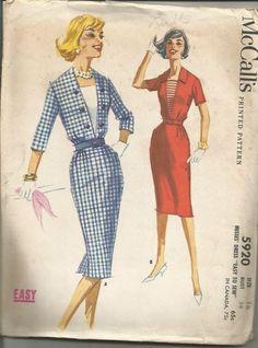 McCalls 5920 Dress Pattern Slim Skirt Pattern Vintage by TheYesterYears Vintage Dress Patterns, Clothing Patterns, Vintage Dresses, Vintage Outfits, Vintage Fashion, 60s Patterns, Classic Fashion, Women's Fashion, Vintage Wardrobe