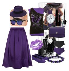 """Black n' Purple"" by azra-2709 ❤ liked on Polyvore featuring HotSquash, Valextra, LORAC, Elizabeth and James, MAISON MICHEL PARIS, Chanel, Elizabeth Arden, Illamasqua and Manic Panic"