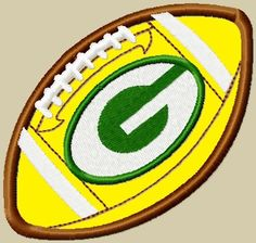Green Bay Packers Football Applique Embroidery Design 2 sizes. $2.99, via Etsy.