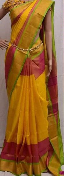 Uppada Yellow with Red Color Silk Saree with Gold by UppadaPattu
