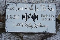Wedding Sign Decor Two Less Fish In The Sea Beach Wedding Sign - Personalized Wood Gift - Lake Weddings - Customizable Colors #twolessfish #inthesea #weddingsign