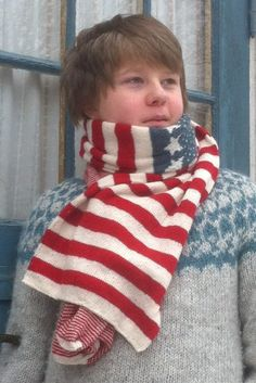"Free knitting pattern for Stars and Stripes Scarf - This American flag-inspired This design comes ""with love from Sweden"" from Thea of Scandinavian Knit. Great for patriotic celebrations."