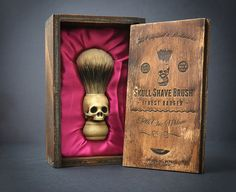 Skull Shaving brush - Hand made finest badger hair Shave Brush with elegant box. This would add a little bit of coolness to my morning shave. I'd really love a nice straight-edge to go with it!