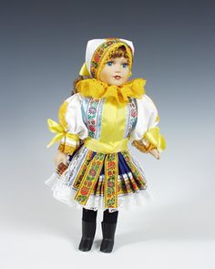 Moravia Czech Porcelain Doll with Ethnic Costumes - Region Piestany 40 cm NEW Folk Costume, Costumes, King Do, Marionette Puppet, My Heritage, Home And Away, Doll Patterns, Czech Republic, Dolls