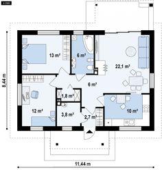 Projekt domu Z253. Parterowy dom z dwuspadowym dachem, tani w budowie i eksploatacji.