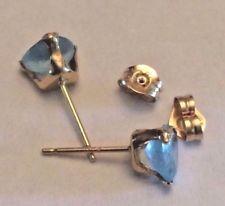 10K gold and aquamarine triangle shape stud earrings