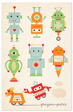 """Robot Family"" - Nursery Custom Art Print by Dawn Jasper. Arte Robot, Robot Art, Robots Robots, Vintage Robots, Retro Robot, Robot Nursery, Nursery Art, Decoration Creche, Backgrounds Wallpapers"