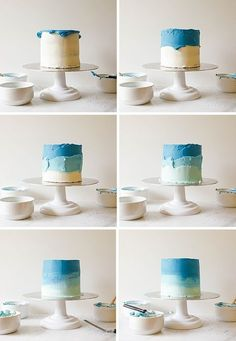 "Smash Cake Tutorial Recipe By The Wood and Spoon Blog. Blue Ombred cake- looks like the ocean! Sharing tips and techniques for decorating mini 6"" smash cakes to be served at a little boy or girl first birthday party! You'll find out how to decorate a cake with flowers, top with color balls of fondant, ombre layer cake, and rustic frosting style done with an offset spatula or palette knife. Read more about the how to and find some colorful kid birthday party inspiration here…"