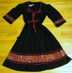 Vintage 1970s Young Edwardian by Arpeja Dress Corset Front Black Red Boho sz 9 #YoungEdwardianbyArpeja
