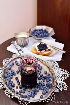 Photo about Home made blueberry jam in a glass jar on a silver tray prepared for breakfast at home. Image of fruits, agriculture, homemade - 98387191 Fruits Images, Blueberry Jam, Silver Trays, Glass Jars, Chocolate Fondue, Homemade, Canning, Breakfast, Desserts