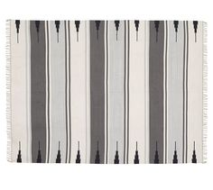 Serape Stripe Synthetic Indoor/Outdoor Rug - Gray | Pottery Barn
