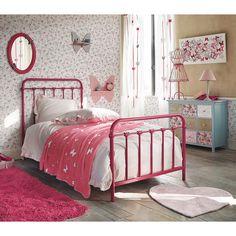 Tenda bianca/rosa in cotone con laccetti 105 x 250 cm FARFALLA