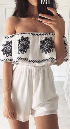 #summer #musthave #outfits   Embroidered Playsuit