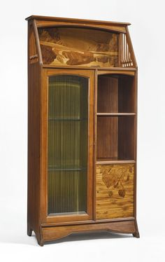 Louis Majorelle VITRINE CABINET signed L. Majorelle mahogany with fruitwood marquetry and glass circa 1910