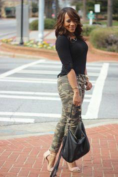 Urbanog heels~H&M purse~Manhattan top~Random accessories Hi everyone and happy Tuesday. Camouflage Fashion, Camo Fashion, Girl Fashion, Fashion Looks, Fashion Outfits, Womens Fashion, Camouflage Pants, Camo Outfits, Casual Outfits
