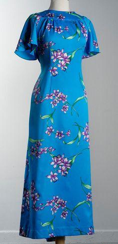 Vintage 70s Darini Hawaiian MuuMuu Maxi Dress with Train Large XL