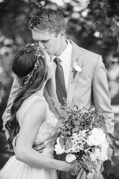 A Homegrown Minnesota Wedding: BHLDN Penelope Gown / Outdoor wedding / Flower crown   Malwitz Photography