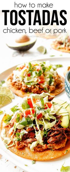 Shatteringly crispy tostadas piled with creamy beans grated cheese the BEST Mexican ground beef or chicken fresh shredded lettuce bright tomatoes and creamy avocados. (Make ahead & freezer instructions). Tostada Recipes, Sausage Recipes, Beef Recipes, Chicken Recipes, Cooking Recipes, Recipies, Mexican Dishes, Mexican Food Recipes, Chicken