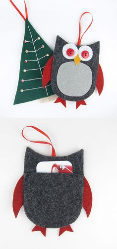 DIY Felt Gift Card Holders for Christmas. Click on image for more.