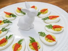 """Devilishly Cute Deviled Eggs (Spring Feast) - Marcela Valladolid, """"The Kitchen"""" on the Food Network. Easter Recipes, Egg Recipes, Appetizer Recipes, Holiday Recipes, Cooking Recipes, Appetizers, Easter Deviled Eggs, Bacon Deviled Eggs, Deviled Eggs Recipe"""