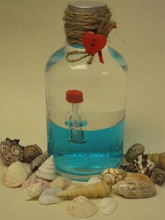 """Create a portable """"message in a bottle"""" in a bottle! Write a love note to your significant other, or a clue for a scavenger hunt!"""