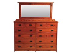 Description: DRESSER 12-DRAWER: Solid Oak. Made in the USA. The American Mission bedroom collection offers 2 bed (storage or slat). Case pieces feature full extension drawer glides and cedar lined drawers. Special order in differen woods or finishes (prices vary based on wood selection). Vendor: witmer furniture Style: Mission Material: Solid Wood Material Detail: Solid Oak Color: Brown / Tan Dimensions: 65W x 18.5D x 46.5H Finish: Medium Wood: Oak Sku: 450439990