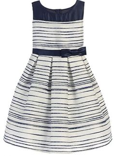 68643fec8be Sweet Kids Little Girls Navy Stripe Pattern Woven Satin Easter Dress -  coupon simple