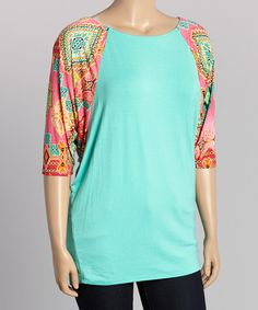 Loving this Turquoise & Fuchsia Tribal Dolman Tunic - Plus on #zulily! #zulilyfinds