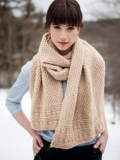 Navarra Wrap--free knit pattern. This comforting, generously-sized textural wrap is edged with rows of beautiful stitch detailing.
