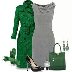 Love the grey dress. Vibrant green