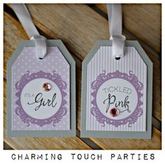 Lavender and grey baby shower favor tags by Charming Touch Parties.  Pack of 18, deluxe and customizable. by CharmingTouchParties on Etsy