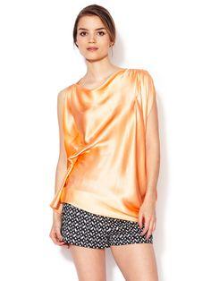 Silk Satin Draped Tunic by Gold Hawk at Gilt