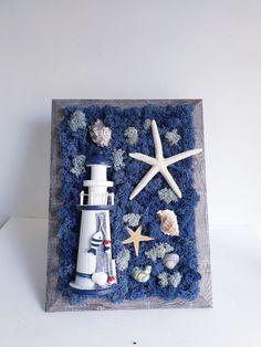 Tablou cu muschi stabilizat - mare albastra Moss Wall Art, Moss Art, Moss Decor, Arte Floral, Buisness, Wooden Diy, Flower Art, Diy Home Decor, Diy Crafts