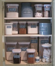 Organize a baking cabinet with these free printable labels from The Creativity Exchange
