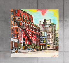 tableau peinture originale urbaine pastel New York Soho par Celinemodernart sur Etsy