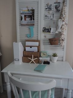 small space office - love the shutters