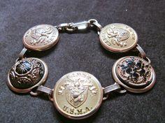 Antique USMA CADET button bracelet, black & gold. West Point.