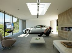 Garage Interior Design Ideas for Your Lovely Motors : Great Garage Interior Design Ideas With Multimedia Entertainement System Unit